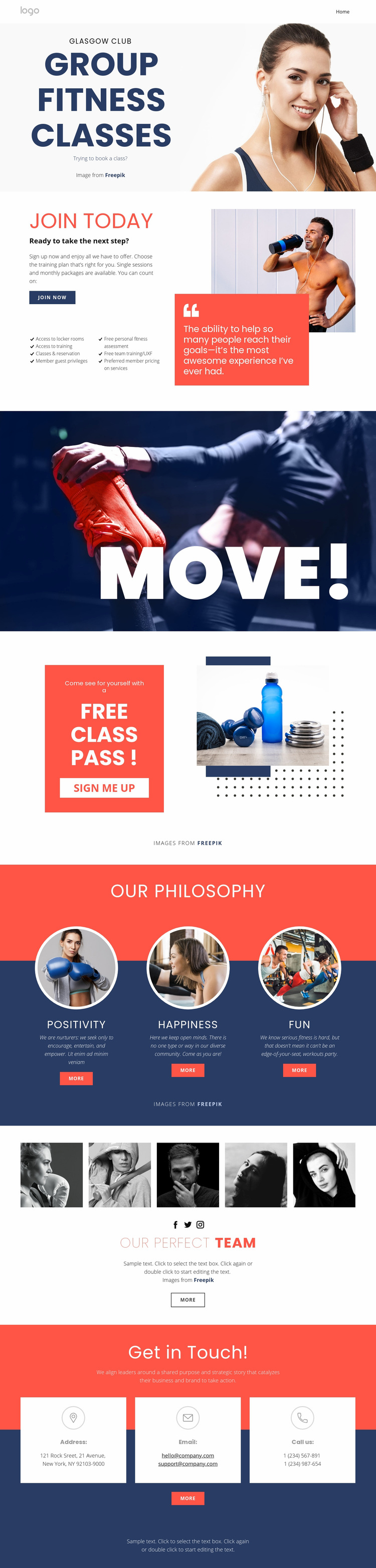 Fitness studio Web Page Designer