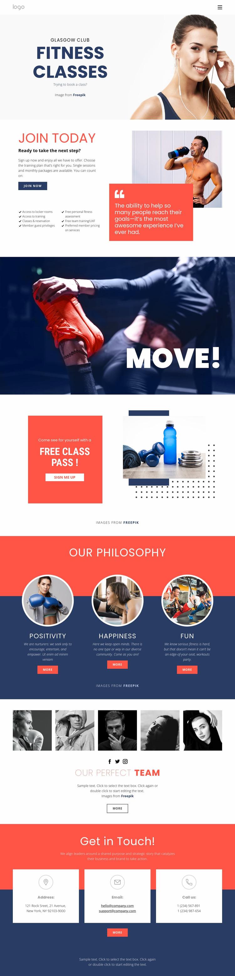 Fitness studio Website Mockup
