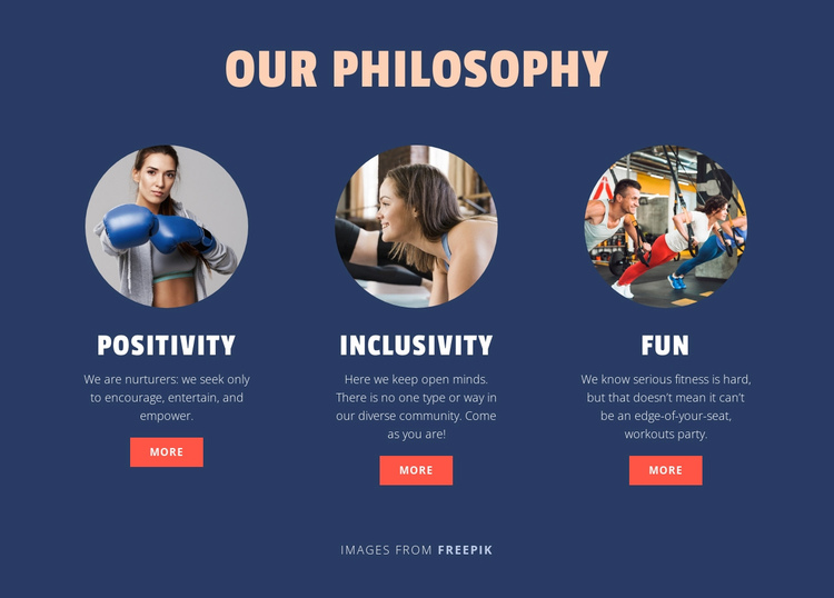 Philosophy of Our Sport Club One Page Template