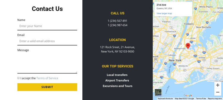 Contact us with map HTML Template