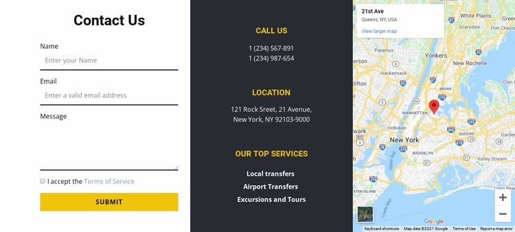 Contact us with map Web Page Designer