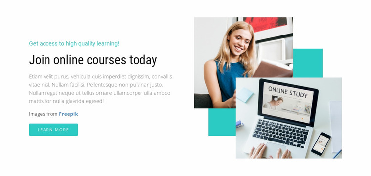 Join Online Courses Today Website Mockup