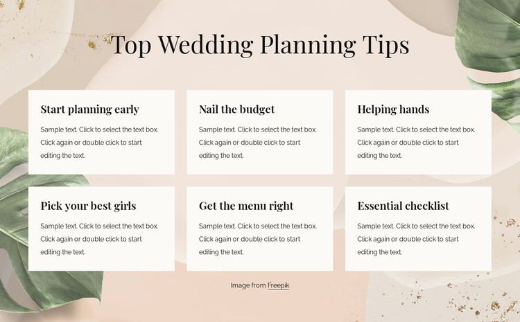 Top wedding planning tips HTML Template