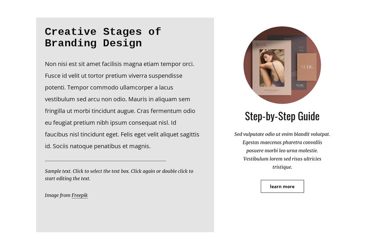 Step-by-step guide HTML Template