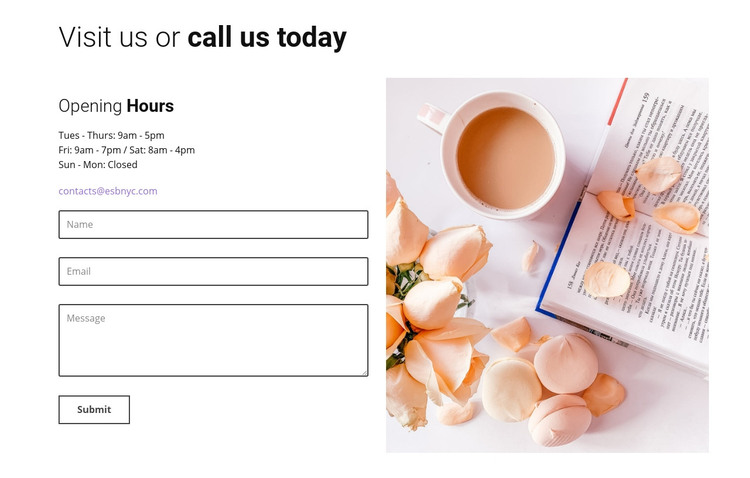 Caffe contact form Homepage Design