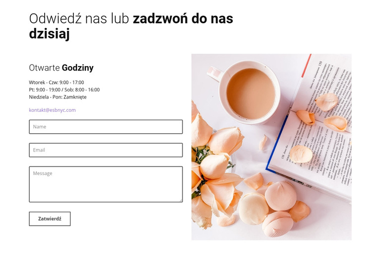 Formularz kontaktowy Caffe Szablon witryny sieci Web