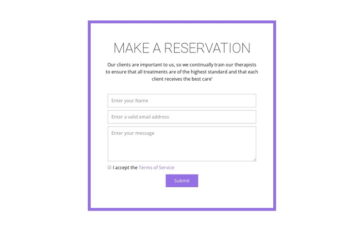 Reservation form  CSS Template