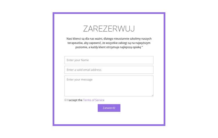Rezerwacja z Szablon witryny sieci Web