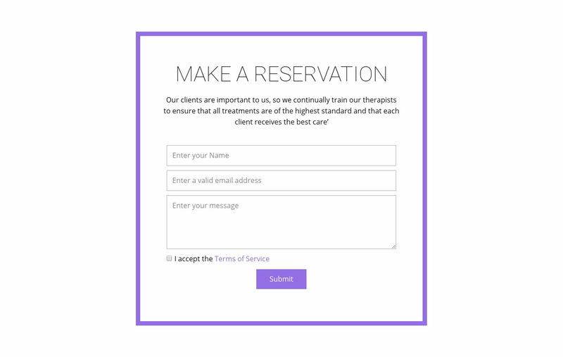 Reservation form  Web Page Designer
