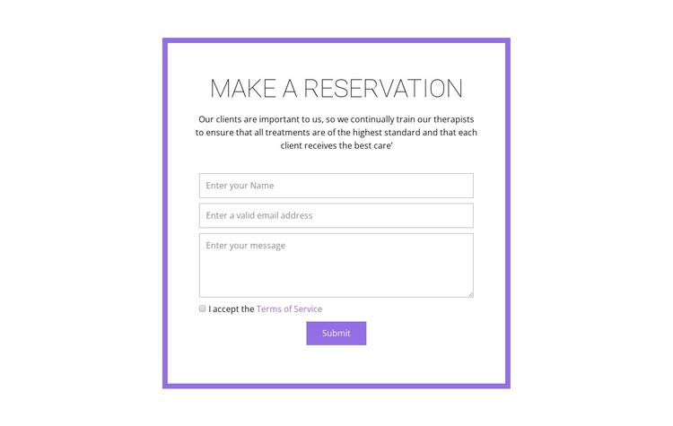 Reservation form  Website Builder Software