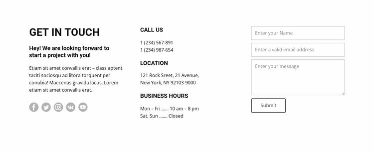 Opening hours and contacts Website Mockup