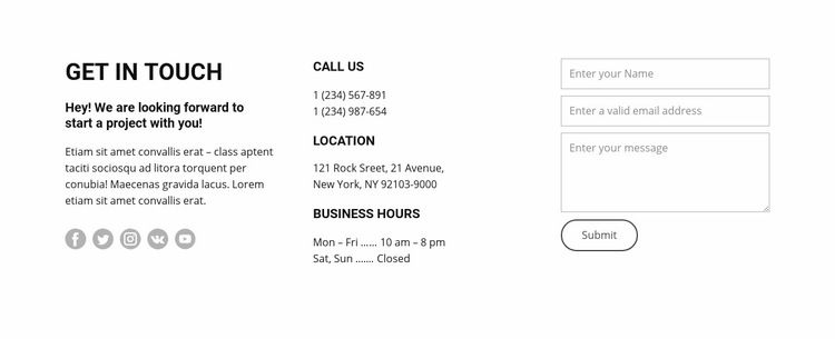 Opening hours and contacts WordPress Website