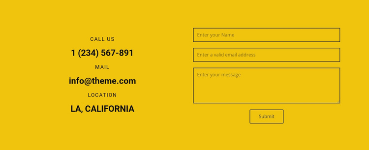 We will contact you One Page Template