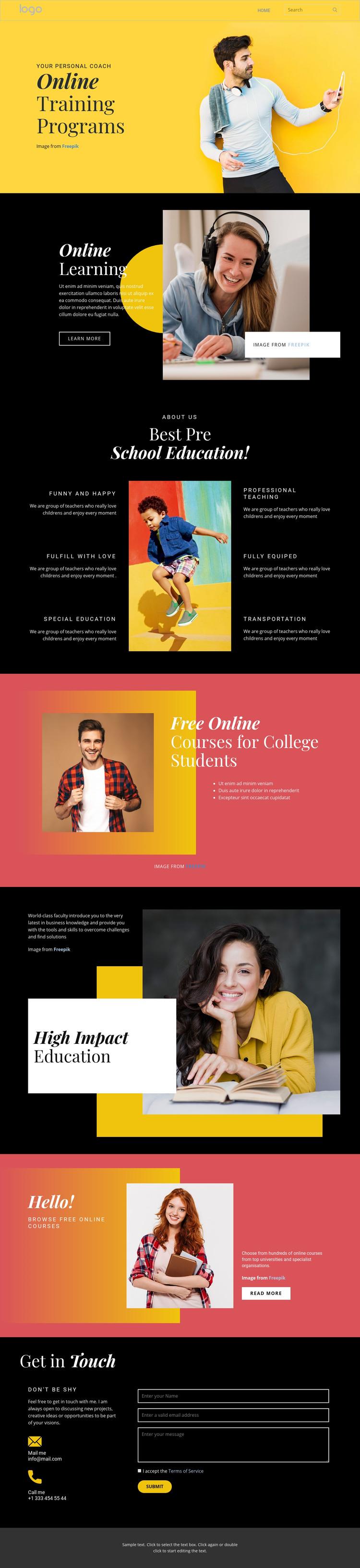Good online education Homepage Design