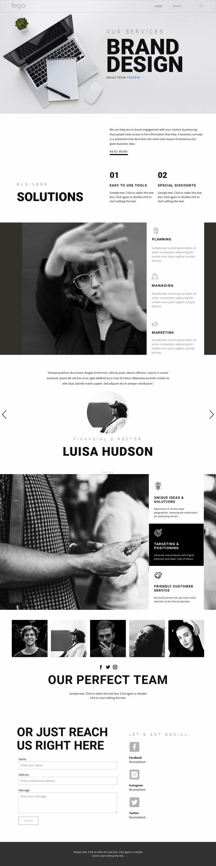 Doing branding for business Html Website Builder