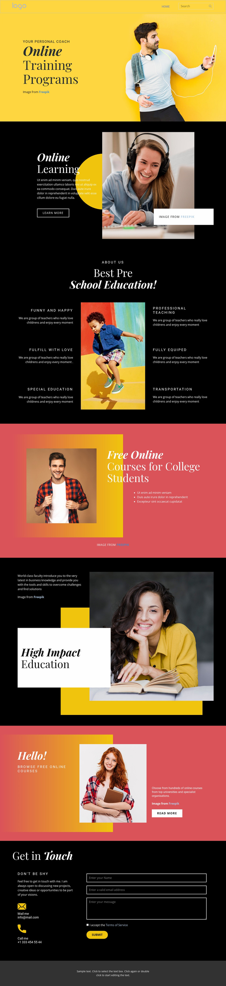 Good online education Web Page Design