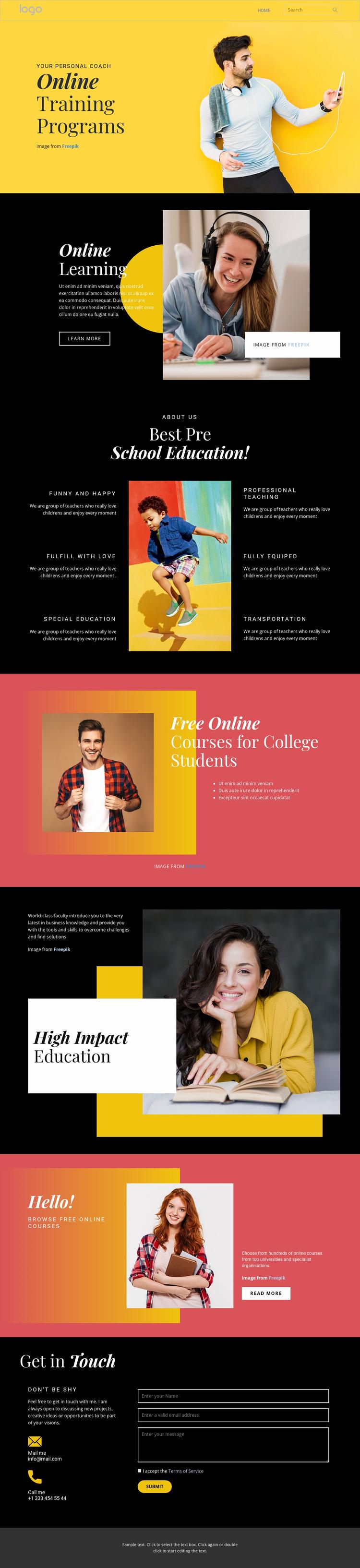 Good online education Website Design