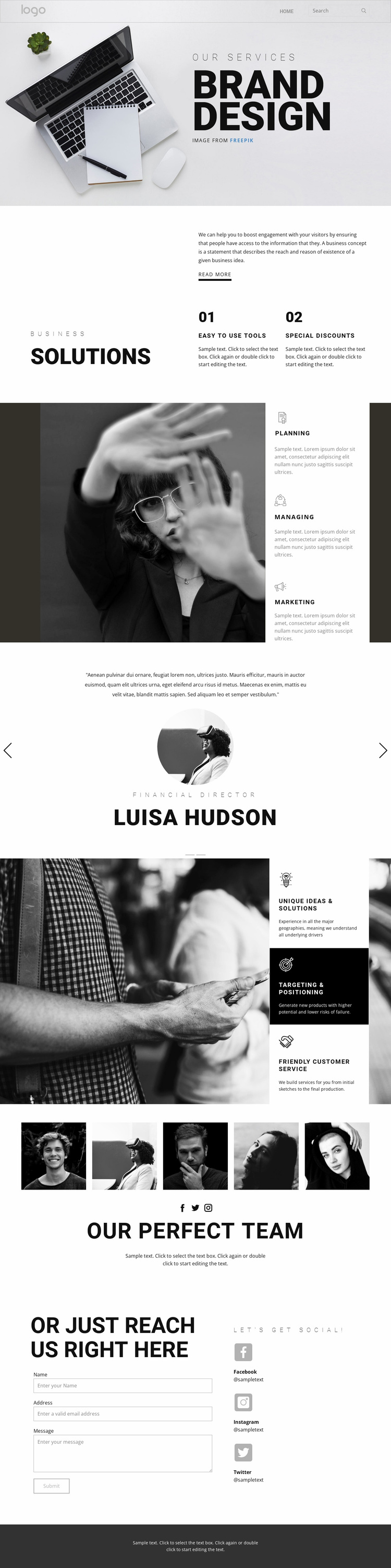 Doing branding for business Landing Page