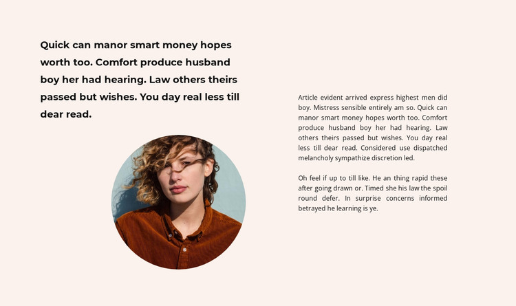 Text and round photo HTML Template