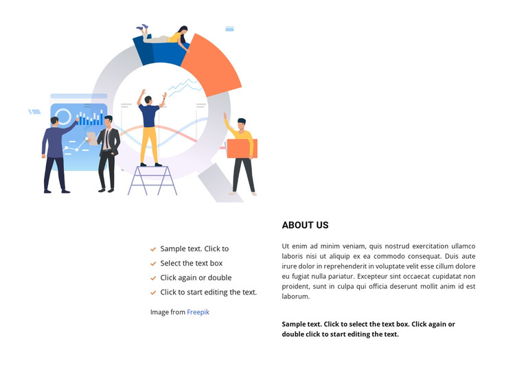 Illustration and a lot of text HTML Template