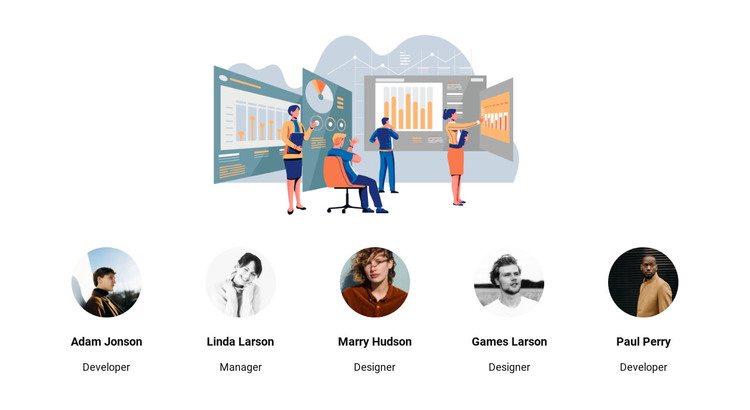 Illustration and team HTML Template