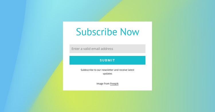 Subscribe form on gradient background HTML Template