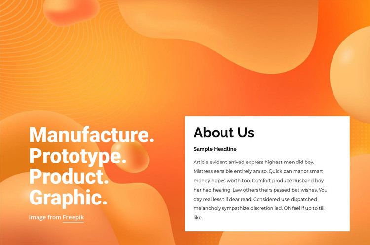 Prototype, product, graphic HTML Template