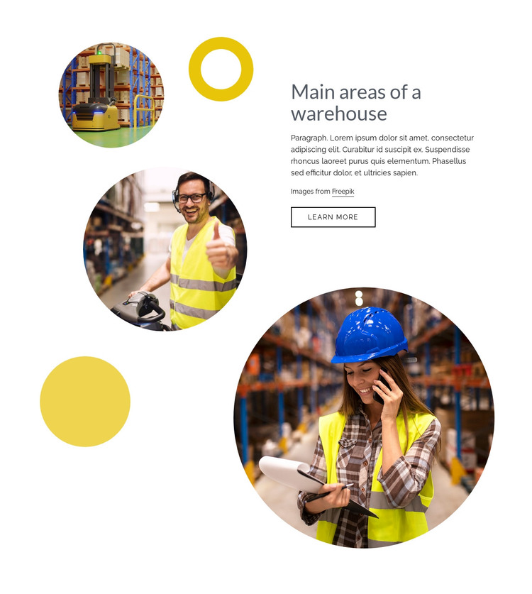 Main areas of a warehouse HTML Template