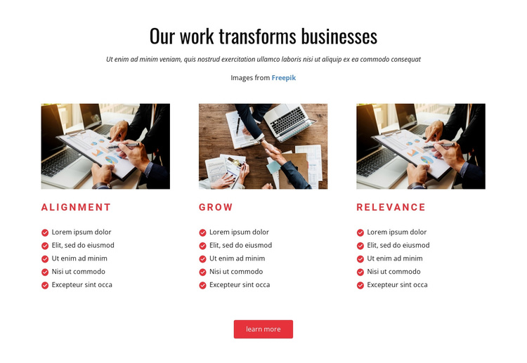 Our Work Transforms Business Joomla Template