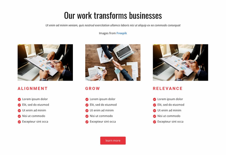 Our Work Transforms Business Website Builder
