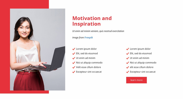 Motivate and inspire your team Website Mockup