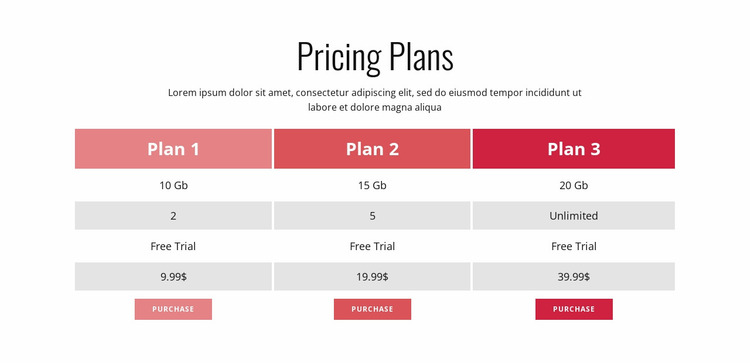 Pricing Plan Website Mockup