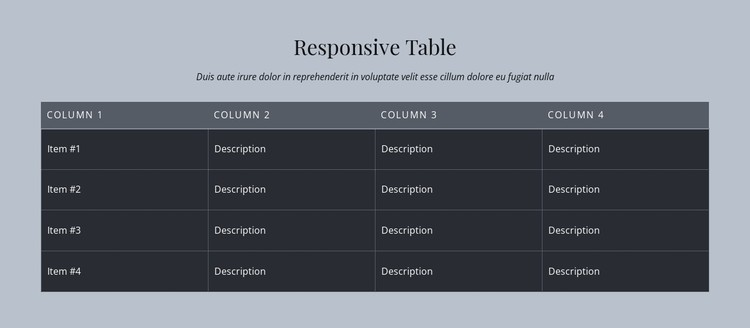 Responsive Table CSS Template