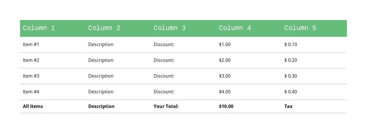 Classic Table Css Template
