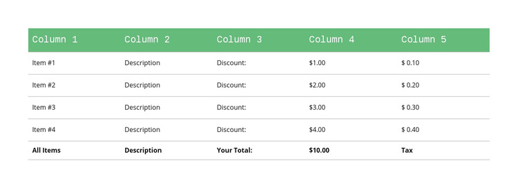 Classic table with green header Homepage Design