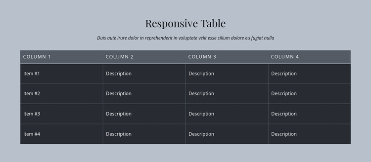 Responsive Table HTML5 Template