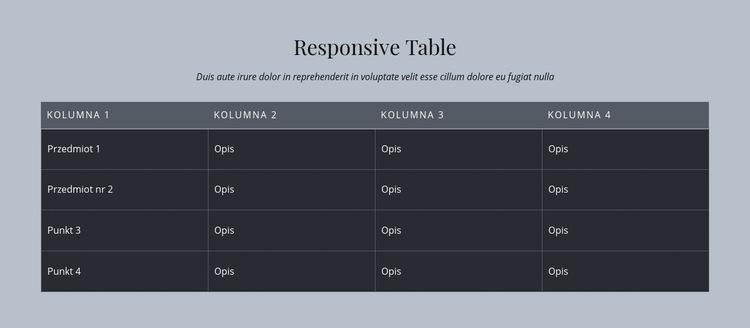Responsive Table Szablon witryny sieci Web