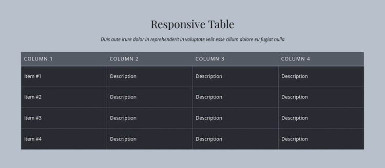 Responsive Table Static Site Generator