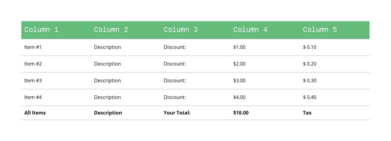 Classic table with green header Web Page Design