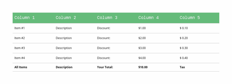 Classic table with green header Website Creator