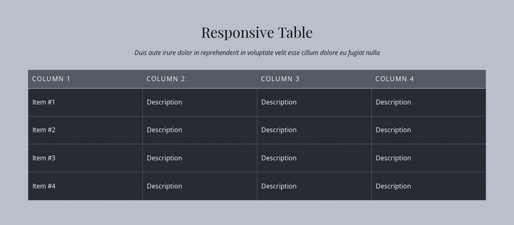 Responsive Table Website Template