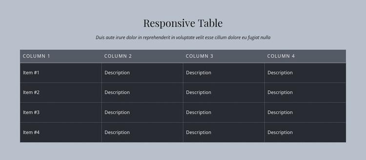 Responsive Table WordPress Theme