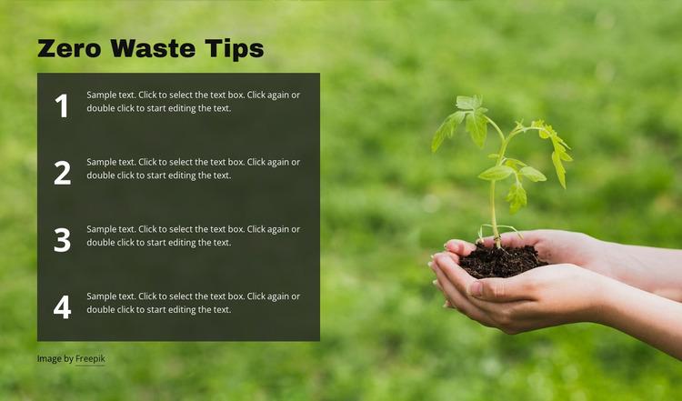 Zero Waste Tips Website Mockup