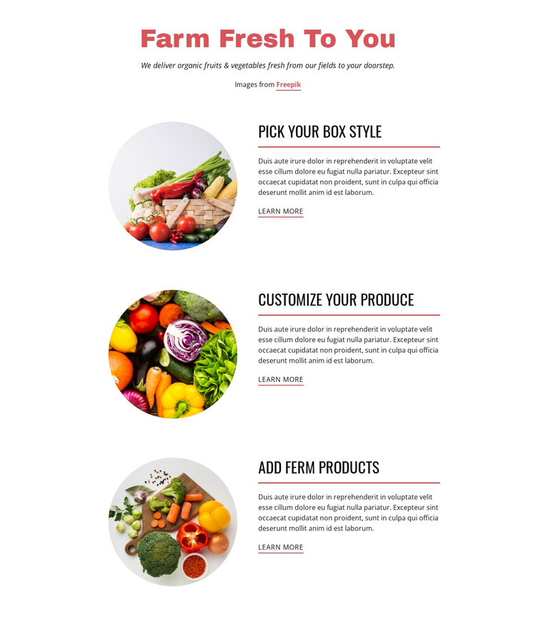 Farm  Products One Page Template