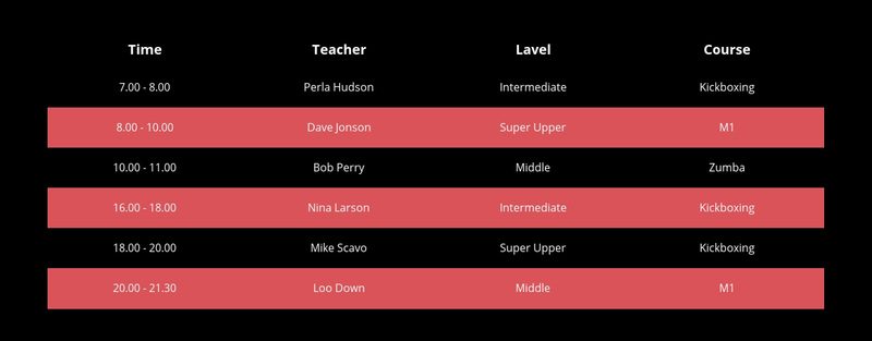 Color table on dark background Web Page Design