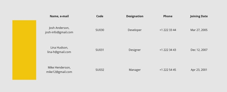 Table with color row CSS Template