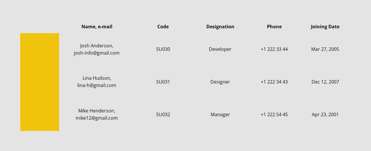 Table with color row Html Code Example