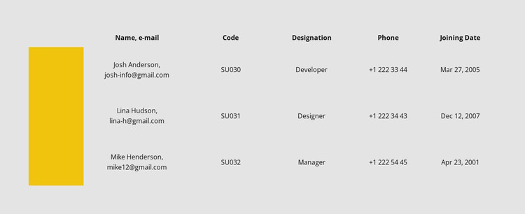 Table with color row Web Design