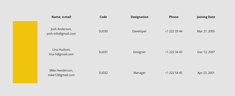 Table with color row Landing Page