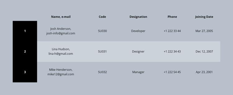 Color business table Joomla Template